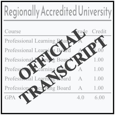 Official Transcript from Regionally Accredited University